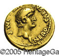 Ancients:Roman, Ancients: Nero. A.D. 54-68. AV aureus (19 mm, 7.43 g). Rome, ca.A.D. 60-61. Bare head right / Virtus standing left, foot on helmet,h...