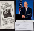 Autographs:Bats, Jimmy Carter Trio of Signed Item - Photo, Book Signing Ad, and MailReturn. ...