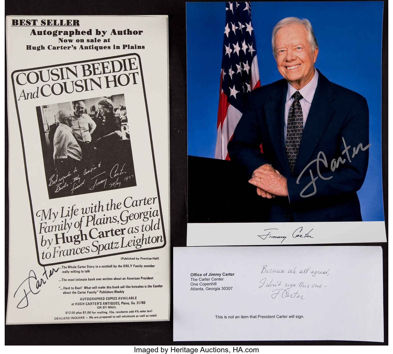 Jimmy Carter Trio of Signed Item - Photo, Book Signing Ad