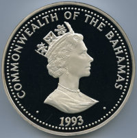 "Bahamas: Elizabeth II silver Proof ""Whales of the World"" 100 Dollars 1993"