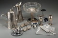 Decorative Arts, Continental, Thirteen Various Silver-Plated, Glass, Aluminum and Chromed MetalTablewares, 20th century. Marks: (various marks). 9-1/4 in...(Total: 13 Items)