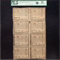 Colonial Notes:Rhode Island, State of Rhode Island July 2, 1780 Uncut Single Pane Sheet of$5-$7-$8-$20/$1-$2-$3-$4 Fr. RI-286-287-288-289/282-283-284-...