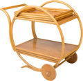 Furniture , A Paul Frankl Bamboo and Blondewood Tea Cart with Removable Tray, circa 1940. 35-1/2 h x 42 w x 20-1/2 d inches (90.2 x 106....