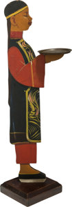 Paintings, A Grauman's Chinese Theatre Painted Wood Figural Card Holder. 34-1/2 inches high (87.6 cm). ...