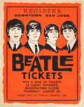 Music Memorabilia:Posters, Beatles - San Jose Merchants Ticket Giveaway Poster for SanFrancisco Candlestick Park, Their Last Scheduled Concert (1966)....