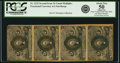 Fractional Currency:Second Issue, Fr. 1232 5¢ Second Issue Vertical Strip of Four PCGS About New 50 Apparent.. ...