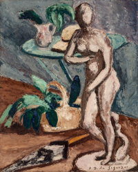 André Dunoyer de Segonzac (French, 1884-1974) Nature morte a la Venus de Medici Oil on canvas 32