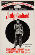 Music Memorabilia:Posters, Judy Garland Felt Forum Madison Square Garden Concert Poster(1967). Extremely Rare....