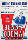 Music Memorabilia:Posters, Benny Goodman Schenectady Armory Concert Poster (Jack ReithProductions, circa 1940). Extremely Rare....
