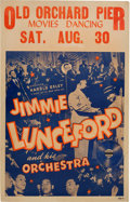 Music Memorabilia:Posters, Jimmie Lunceford Old Orchard Pier Concert Poster (1941). VeryRare....