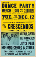 Music Memorabilia:Posters, Crescendos/Arthur Gunther American Legion Clubhouse Concert Poster(1957). Extremely Rare....