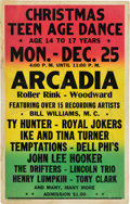 Music Memorabilia:Posters, Ike And Tina/Temptations Arcadia Roller Rink Concert Poster (circa1961). Extremely Rare....