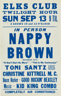 Music Memorabilia:Posters, Nappy Brown Elks Club Concert Poster (1959). Extremely Rare....