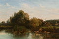 Paintings, Attributed to Nicolas-Louis Cabat (French, 1812-1893). Hameau du bord de la rivière. Oil on canvas. 18-1/2 x 27 inches (...