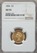 Three Dollar Gold Pieces: , 1856 $3 AU55 NGC. NGC Census: (157/384). PCGS Population: (144/236). Mintage 26,010. . From The R. Thayer Sheets Yorkt...