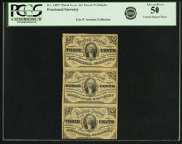 Fr. 1227 3¢ Third Issue Vertical Strip of Three PCGS About New 50