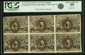 Fractional Currency:Second Issue, Fr. 1234 5¢ Second Issue Block of Six PCGS Choice About New 55.. ...
