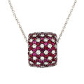 Estate Jewelry:Pendants and Lockets, Diamond, Ruby, White Gold Pendant-Necklace. ...