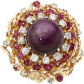 Estate Jewelry:Rings, Star Ruby, Ruby, Diamond, Gold Ring. ...