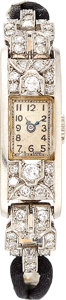 Estate Jewelry:Watches, Art Deco Lady's Diamond, White Gold, Cord Watch. ...