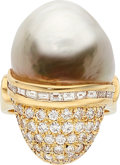 Estate Jewelry:Rings, Diamond, Freshwater Cultured Pearl, Gold Ring. ...