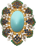 Estate Jewelry:Brooches - Pins, Turquoise, Diamond, Multi-Stone, Gold Brooch. ...