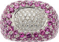 Estate Jewelry:Rings, Pink Sapphire, Diamond, White Gold Ring. ...
