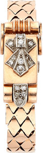 Estate Jewelry:Watches, Retro Swiss Lady's Diamond, Pink Gold Covered Dial Watch. ...
