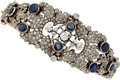 Estate Jewelry:Bracelets, Diamond, Sapphire, Silver-Topped Gold Bracelet. ...