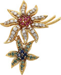 Estate Jewelry:Brooches - Pins, Multi-Stone, Irradiated Diamond, Diamond, Gold Brooch, Moba. ...