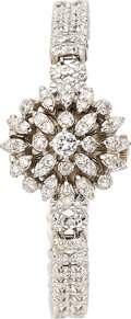 Estate Jewelry:Watches, Croton Lady's Diamond, White Gold Covered Dial Watch. ...