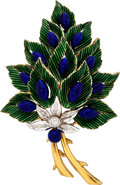 Estate Jewelry:Brooches - Pins, Diamond, Enamel, Gold Brooch, Toliro. ...