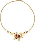 Estate Jewelry:Necklaces, Retro Ruby, Diamond, Gold Necklace. ...