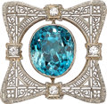 Estate Jewelry:Brooches - Pins, Blue Zircon, Diamond, White Gold Brooch. ...