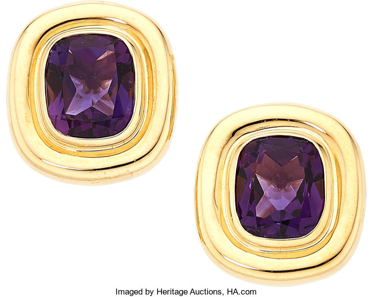 ae482a59e ... Estate Jewelry:Earrings, Amethyst, Gold Earrings, Paloma Picasso for  Tiffany & ...