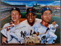 Autographs:Photos, Mickey Mantle, Willie Mays and Duke Snider Multi Signed OversizedPrint. ...