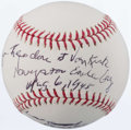 "Autographs:Bats, Dutch Van Kirk ""Enola Gay"" Single Signed, Inscribed Baseball...."