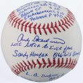 Autographs:Baseballs, Andy Etchebarren Single Signed, Inscribed Story Ball - Last Hitterto Ever Face Koufax....