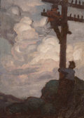 Fine Art - Painting, American:Modern  (1900 1949)  , American School (20th Century). Fixing the Light Post. Oilon canvas. 20 x 14 inches (50.8 x 35.6 cm). ...