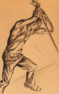 , Thomas Hart Benton (American, 1889-1975). Steel Worker. Inkand pencil on paper. 19 x 13-1/2 inches (48.3 x 34.3 cm) (sh...