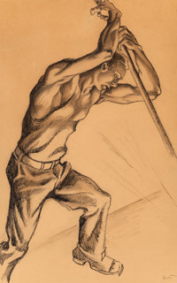 Thomas Hart Benton (American, 1889-1975) Steel Worker Ink and pencil on paper 19 x 13-1/2 inches