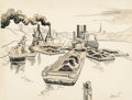 Fine Art - Work on Paper:Drawing, Thomas Hart Benton (American, 1889-1975). Coal Barge. Ink, pencil, and wash on paper. 9 x 11-7/8 inches (22.9 x 30.2 cm)...