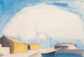 Fine Art - Work on Paper:Watercolor, George Copeland Ault (American, 1891-1948). Sailboat (LumberSchooner and Wharves), 1922. Watercolor on paper. 7-1/2 x 1...
