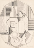 Fine Art - Work on Paper:Drawing, Jean Metzinger (French, 1883-1956). Cubist Composition.Pencil on paper. 13 x 9-3/8 inches (33 x 23.8 cm) (sheet). Signe...