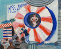 Fine Art - Painting, American:Modern  (1900 1949)  , Aaron Bohrod (American, 1907-1992). Miss America, 1933.Gouache on board. 11-1/4 x 13-3/4 inches (28.6 x 34.9 cm) (sight...