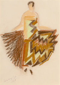 Sonia Delaunay-Terk (French, 1885-1979) Robe Simultanee, 1924 Pastel on paper 12-1/4 x 9 inches (