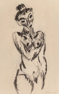 Fine Art - Work on Paper:Drawing, Max Weber (American, 1881-1961). Untitled (Female Nude),1912. Charcoal on paper laid on paperboard. 12-1/2 x 8 inches (...
