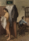 Fine Art - Painting, American:Modern  (1900 1949)  , Raphael Soyer (American, 1899-1987). In the Studio. Oil oncanvas. 14 x 10 inches (35.6 x 25.4 cm). Signed lower right: ...
