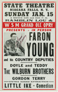 Music Memorabilia:Posters, Faron Young And His Country Deputies Signed State Theatre ConcertPoster (1956). Very Rare....