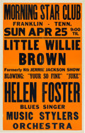 Music Memorabilia:Posters, Little Willie Brown/Helen Foster Morning Star Club Concert Poster(1954). Extremely Rare....